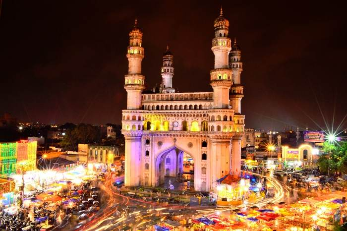 information about charminar Charminar is an impeccable square shape structure along with high towers at every single corner this monument lusters to its beauty during the night time through multi-coloured lightsthe charminar is located just in the core of the city's busy market and that is why this place got the huge tourists a whole year from all over the world.