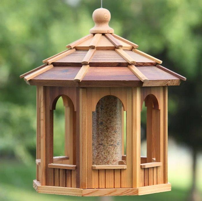 Handmade Wood Hopper Bird Feeders